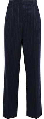 Iris & Ink Dagny Pinstriped Brushed Wool-blend Straight-leg Pants