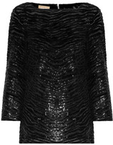 Michael Kors Sequined Stretch-tulle Top - Black