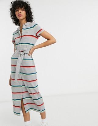 Lacoste striped tie waist midi dress in grey