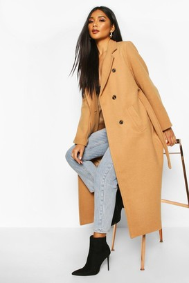 boohoo Longline Double Breasted Belted Wool Look Coat