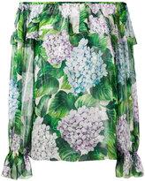 Dolce & Gabbana hydrangea print off-shoulder blouse
