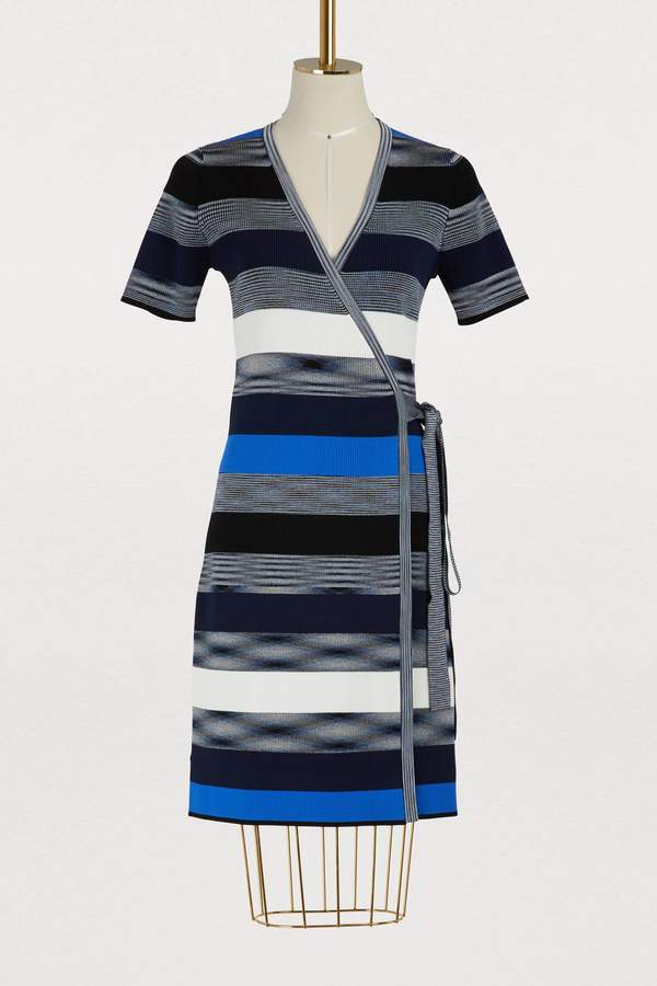 Diane von Furstenberg Short striped wrap dress