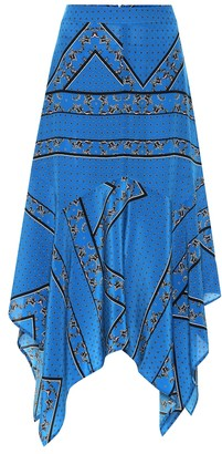 Ganni Printed asymmetric silk skirt
