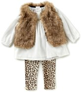 Starting Out Baby Girls 3-24 Months Faux-Fur Vest, Long-Sleeve Top, & Printed Leggings 3-Piece Set