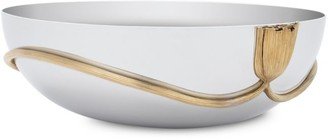 L'OBJET Deco Leaves Large Stainless Steel Oval Bowl