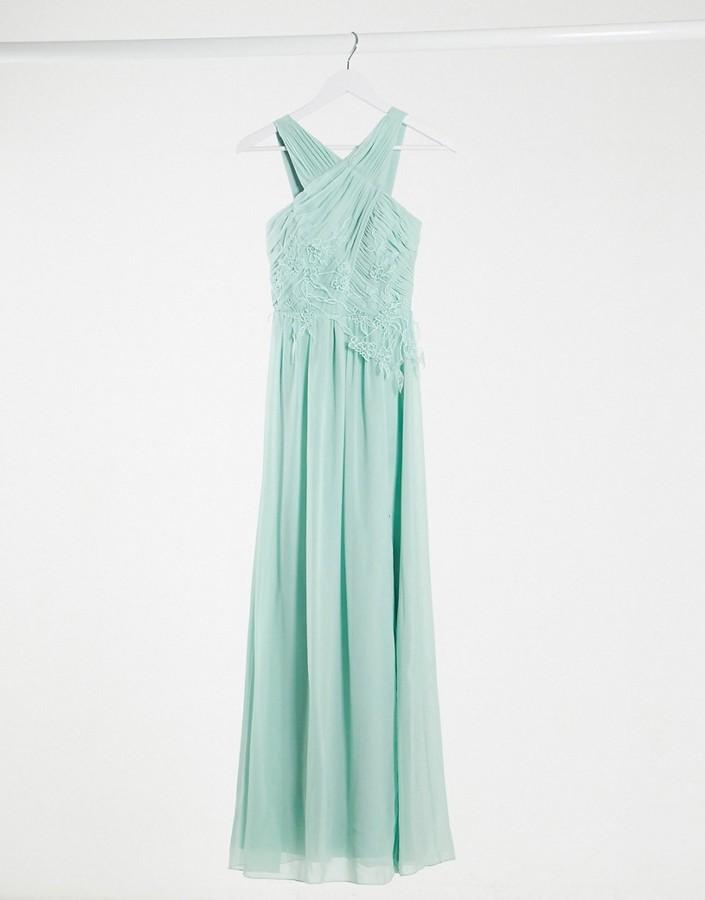 Little Mistress bridesmaid applique maxi dress in spearmint