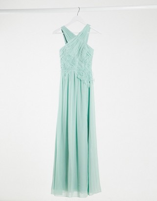 Little Mistress bridesmaid applique maxi dress in spearmint