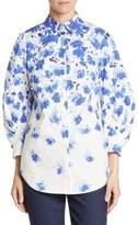 Lela Rose Cotton Floral-Print Shirt