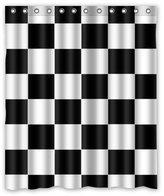 "Checkered Pattern Shower Curtain Design Black White Checkered Pattern Waterproof Bathroom Fabric Shower Curtain,Bathroom decor 60"" x 72"" inches"
