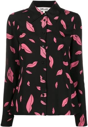 Diane von Furstenberg Falling Lips Print Shirt