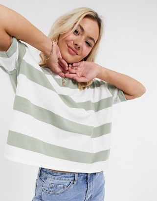 ASOS DESIGN boxy cropped t-shirt with chunky stripe in mint and white