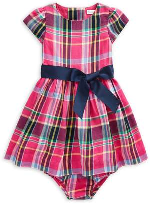 Ralph Lauren Childrenswear Baby Girl's 2-Piece Cotton Plaid Fit--Flare Dress Bloomers Set