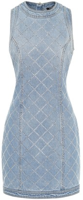 Balmain Embellished denim minidress