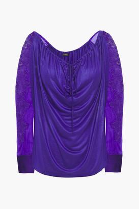 La Perla Embroidered Voile-paneled Draped Satin-jersey Pajama Top