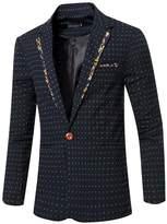 jeansian Men's Fashion Dot Printing Blazer Suit Jacket Outerwear Tops 9529 M