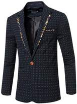 jeansian Men's Fashion Dot Printing Blazer Suit Jacket Outerwear Tops 9529 XL