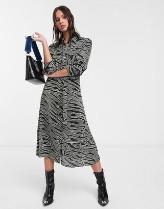 Levete Room zebra print midi dress in khaki zebra