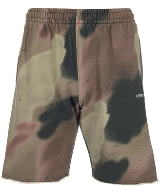 Off-White Camouflage Print Sweat Shorts