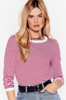 Nasty Gal Womens Stripe Here Waitin' Ringer Tee - Maroon