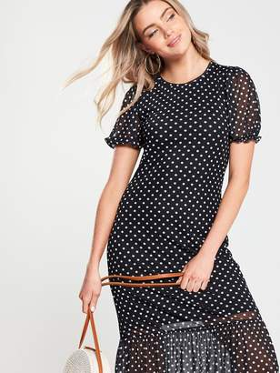 Very Polka DotMesh Frill Hem Dress - Black