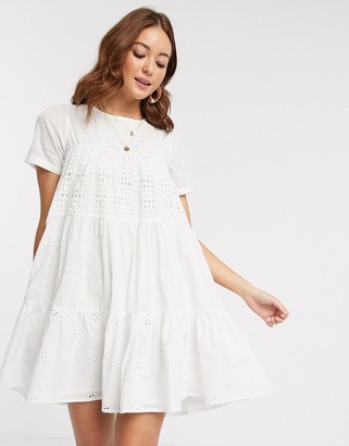 ASOS DESIGN mixed broderie trapeze mini smock dress in white
