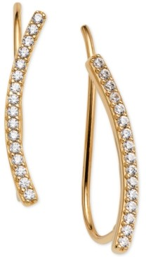 AVA NADRI 18k Gold-Plated Cubic Zirconia Curved Bar Ear Climbers