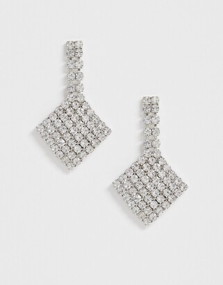 True Decadence crystal diamond drop earrings-Silver