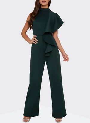 Dorothy Perkins Womens *Chi Chi London Teal Ruffle Jumpsuit, Teal