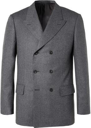 Kingsman Rocketman Grey Double-Breasted Wool-Flannel Suit Jacket