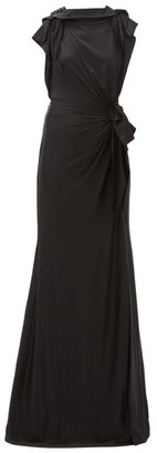 Burberry Summers Draped Cross-back Satin Dress - Womens - Black