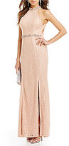 Sequin Hearts Beaded Mock Neck Strappy Open Back Metallic Corded Lace Long Dress