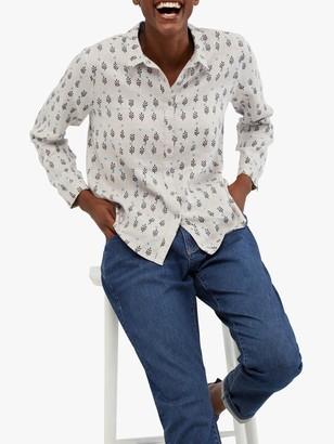 White Stuff Amelie Leaf Print Linen Shirt, White/Multi