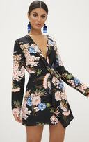 PrettyLittleThing Black Floral Long Sleeve Wrap Dress