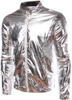 Idopy Men`s Silver Metallic Coating Nightclub Zip Up Jacket L