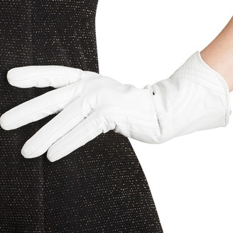 Nappaglo Nappa Leather Gloves Warm Handmade Curve Lambskin for Women - White - Large
