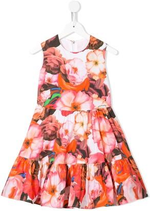 Msgm Kids Tiered-Skirt Floral-Print Dress