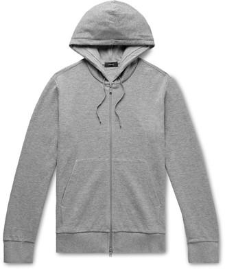 Theory Mattis Waffle-Knit Organic Pima Cotton Zip-Up Hoodie