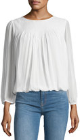 Joie Leia Silk Woven-Yoke Blouse, White