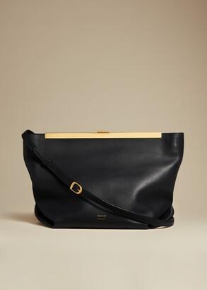 KHAITE The Envelope Pleat Frame Crossbody in Black Leather