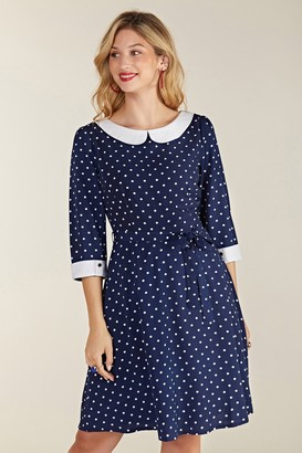 Yumi Spot Print Peter Pan Collar Skater Dress