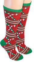 Forum Novelties Inc. Forum Women's Ugly Christmas Candy Cane Knee Socks