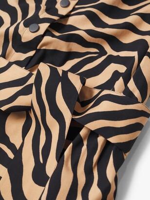 MANGO Zebra Print Midi Shirt Dress, Brown/Multi