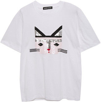 Markus Lupfer Alex Cat Face Sequin-embellished Cotton-jersey T-shirt