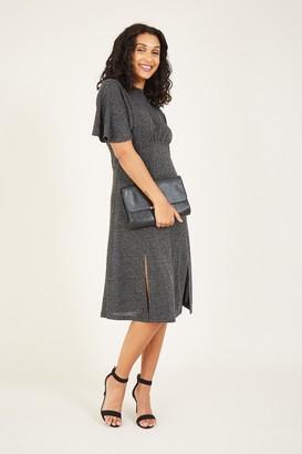 Yumi Silver Metallic Midi Dress