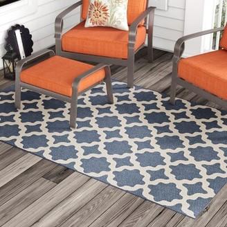 Charlton Home Hervey Bay Moroccan Trellis Blue/Beige Indoor/Outdoor Area Rug Rug Size: Rectangle 5' x 8'