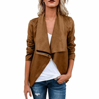 Mumustar Women Leather Jacket Plus Size Ladies Slim Biker Jacket Coat Suede Faux Leather Cardigan Outwear Winter Casual Tops Brown