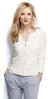 Classic Women's Cotton Lace Zip Cardigan Sweater-Bright Citrus Stripe
