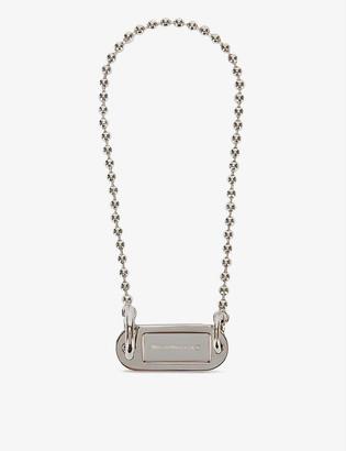 MM6 MAISON MARGIELA Key tag logo-engraved silver-plated choker