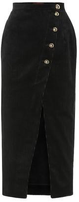 ALEXACHUNG Cotton-blend corduroy midi skirt