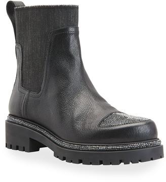 Rene Caovilla Shimmery Strass-Toe Short Moto Boots